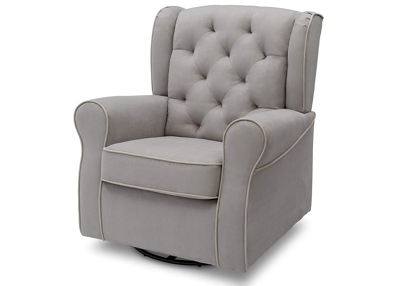 Traveller Location: Delta Children Emerson Upholstered Glider Swivel Rocker Chair,  Dove Grey with Soft Grey Welt: Baby