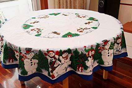 Amazon.com: MZPRIDE Cute Snowman Christmas Tablecloth Pine Tree