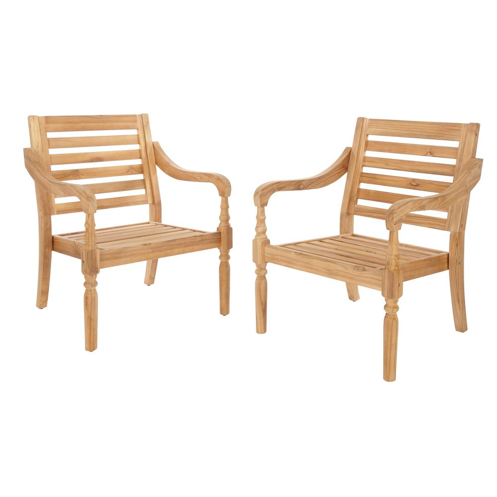 Hampton Bay Old Town Teak Patio Dining Chair (2-Pack)