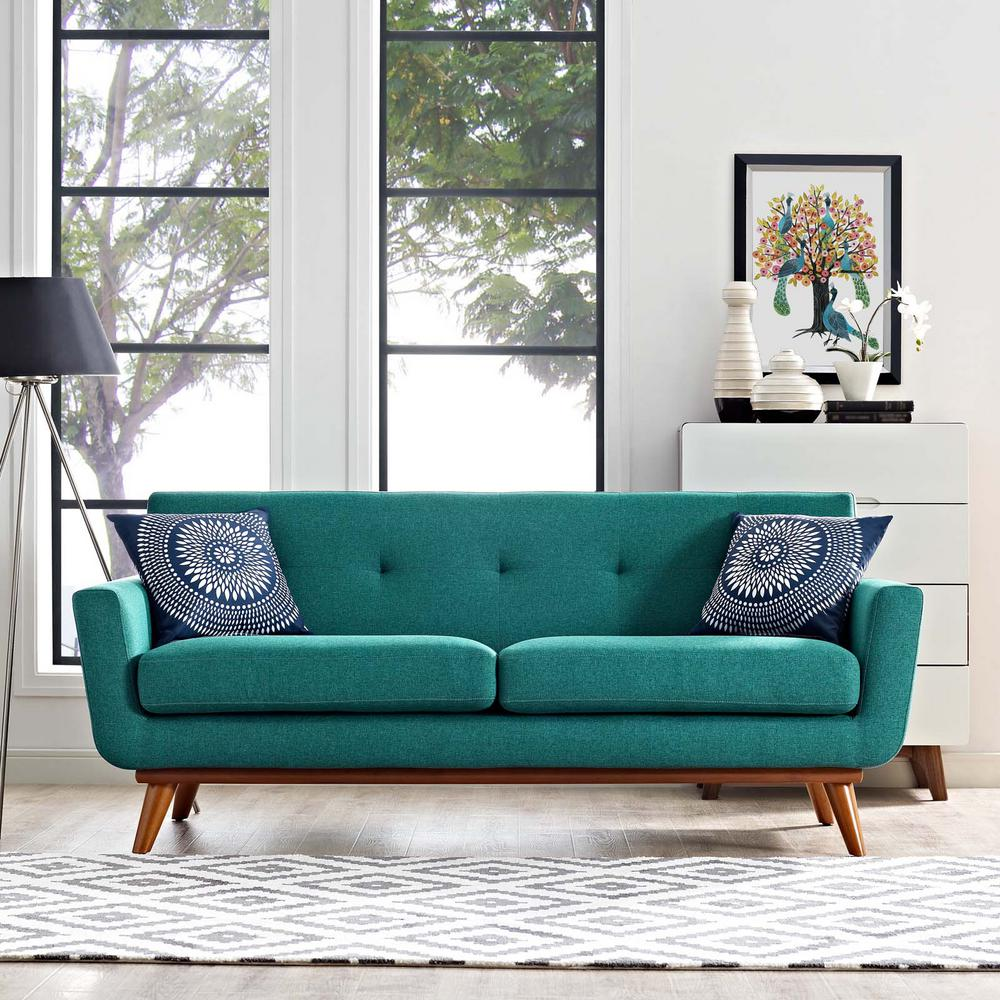 MODWAY Engage Teal Upholstered Fabric Loveseat