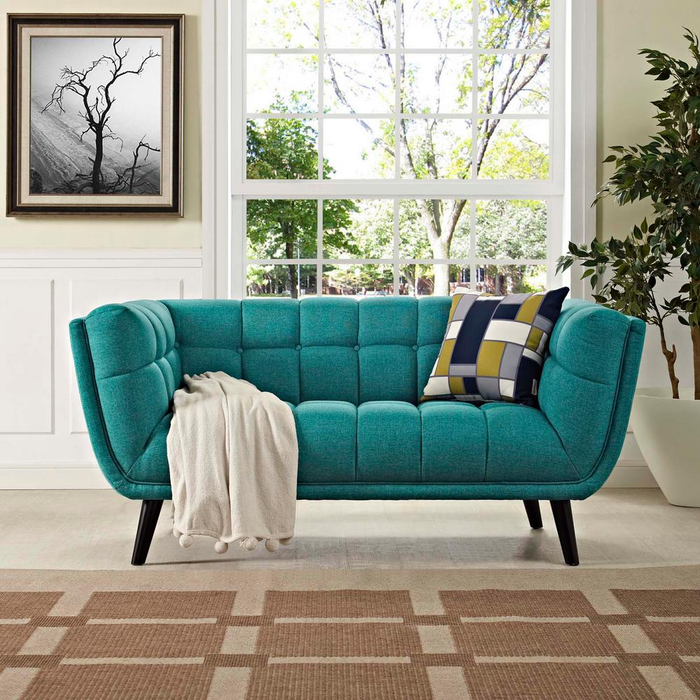 MODWAY Bestow Teal Upholstered Fabric Loveseat