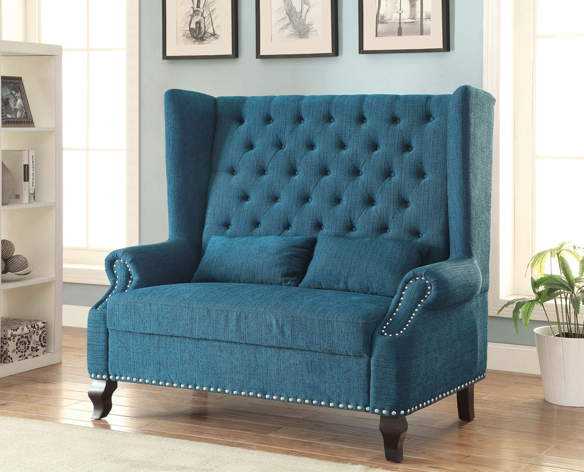 Teal fabric loveseat chair - CA6223F-TL