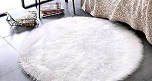 LEEVAN Plush Sheepskin Throw Rug Faux Fur Elegant Chic Style Cozy Shaggy  Floor Mat Area Rugs