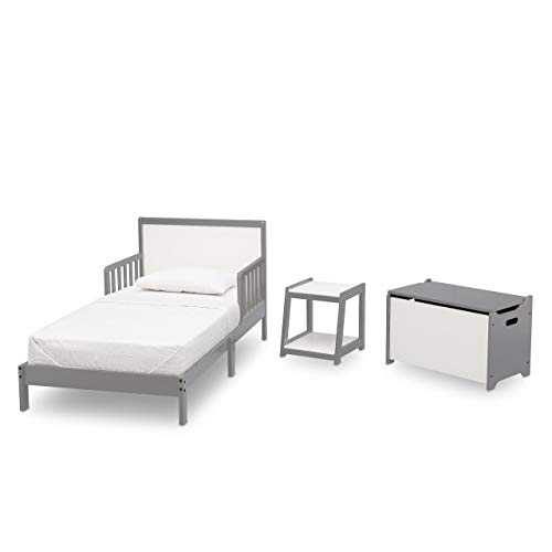 Delta Children Aster 3 Piece Toddler Room in-a-Box, White with Grey