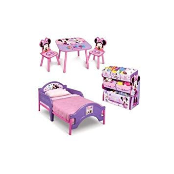 Traveller Location: Minnie Mouse Toddler Bedroom Furniture 3 Piece Set Girls Pink  Toddler Bed with Minnie Multi Bin Toy Box and Kids Minnie Art Table and  Chairs: