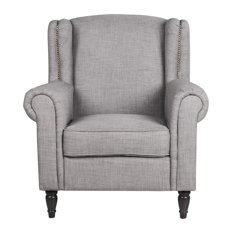 SofaMania - Classic Scroll Arm Linen Fabric Accent Armchair, Light Gray -  Armchairs and Accent