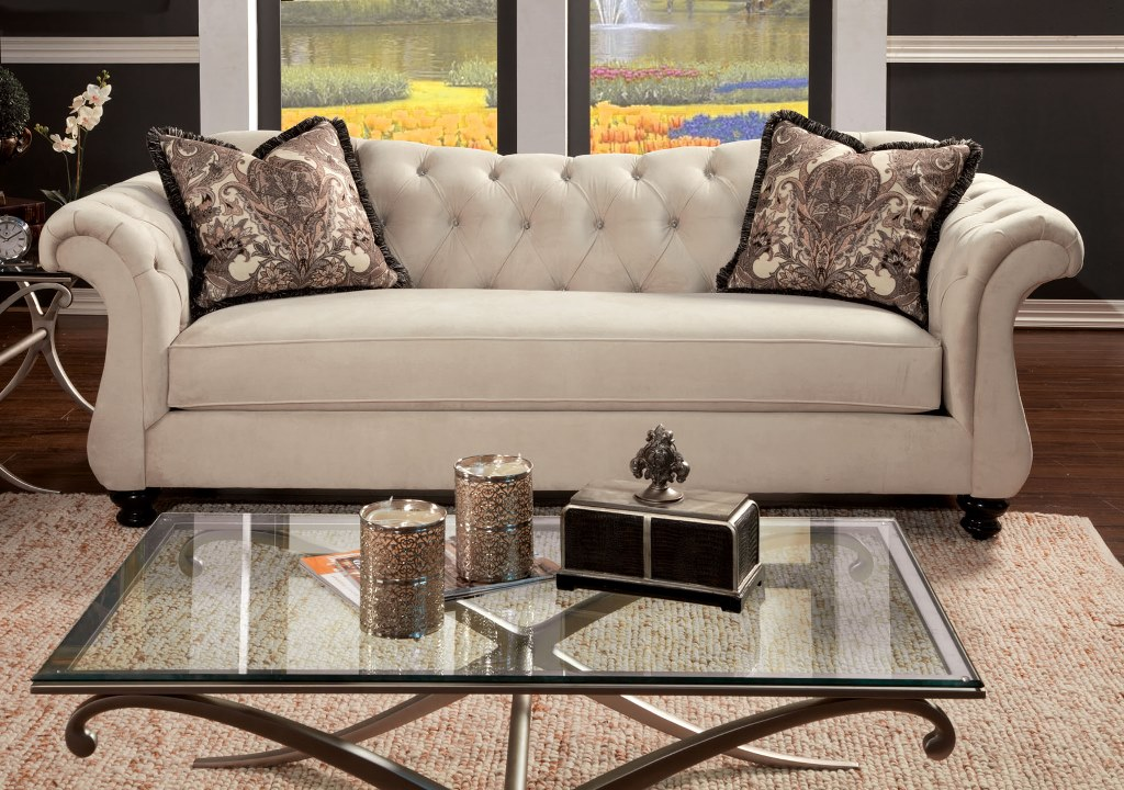 Antoinette Traditional Ivory Premium Fabric Sofa Couch