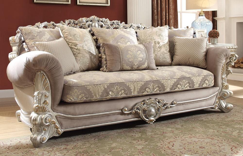 Georgian Silver Finish Traditional Sofa