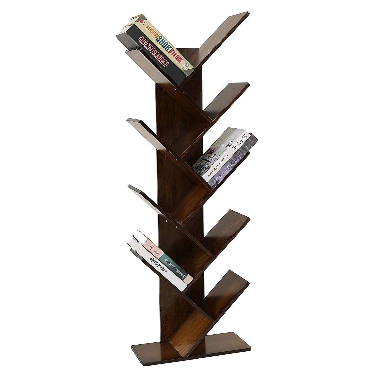 Traveller Location: UNICOO - Bamboo 9-Shelf Tree Bookcase, Special Design Bookshelf,  Display Storage Rack for CDs, Movies & Books. (Antique Brown - 9TB):  Kitchen &