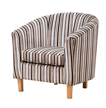Sofa Collection Fabric Tub Chair/Armchair Seating Brown Available (Grey  Stripe), 70x76x73