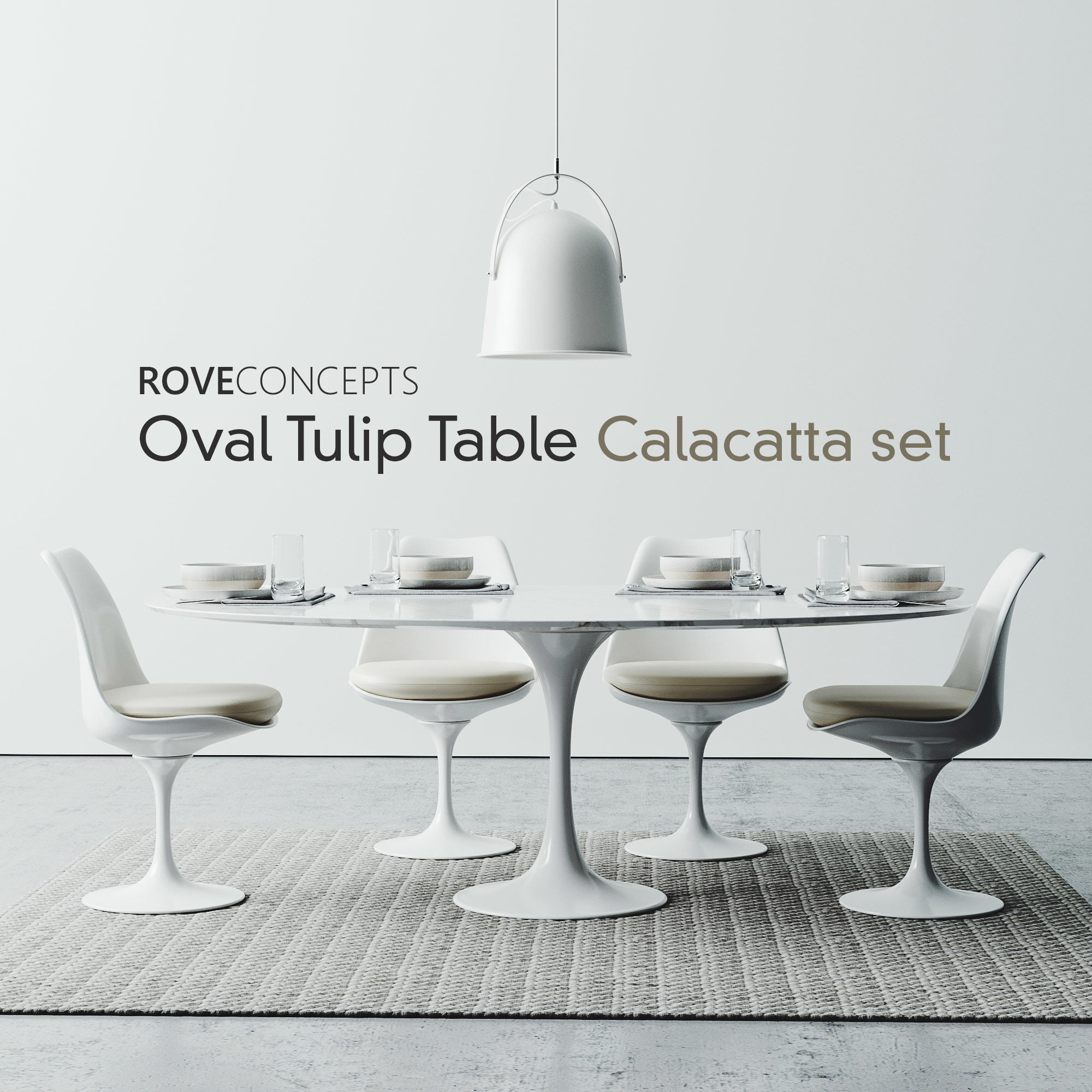 Oval Tulip Table Calacatta Set 1980mm Cgtrader