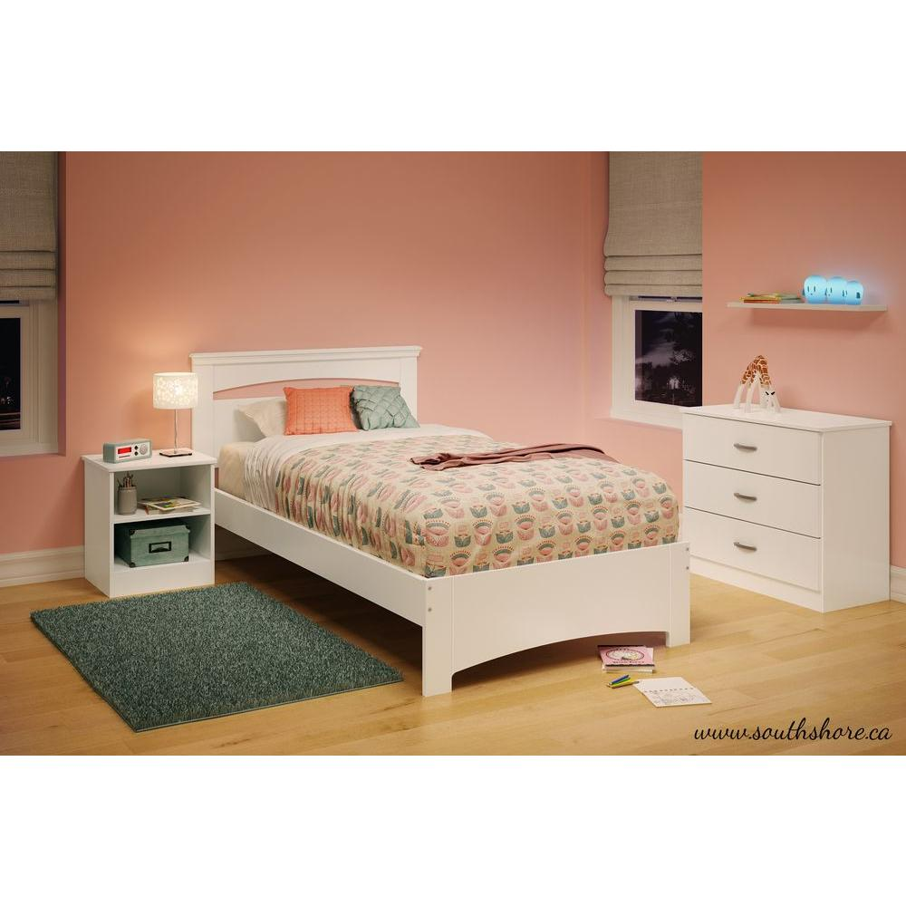 South Shore Libra Pure White Twin Bed Frame