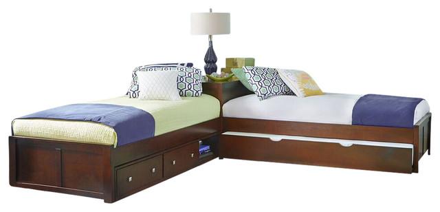Larkin L-Shape Twin Size Corner Bed, Cherry