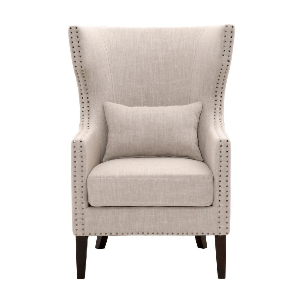 Home Decorators Collection Bentley Birch Neutral Upholstered Arm Chair