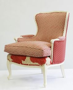 Mixing fabric patterns on upholstered chair. Metal Outdoor Chairs, Upholstered  Furniture, Painted Furniture