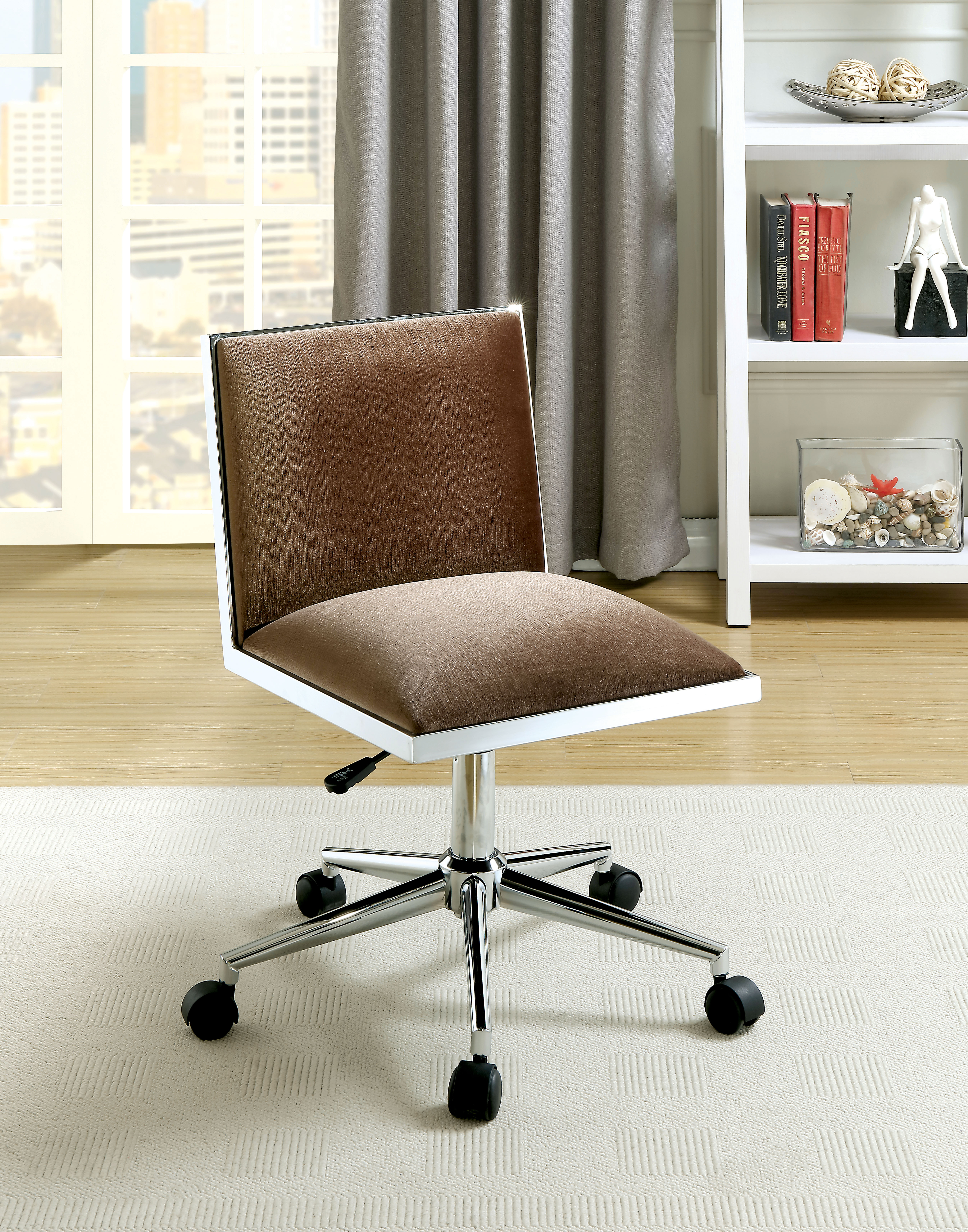 Furniture of America Delta Contemporary Brown Upholstered Office Chair -  Traveller Location