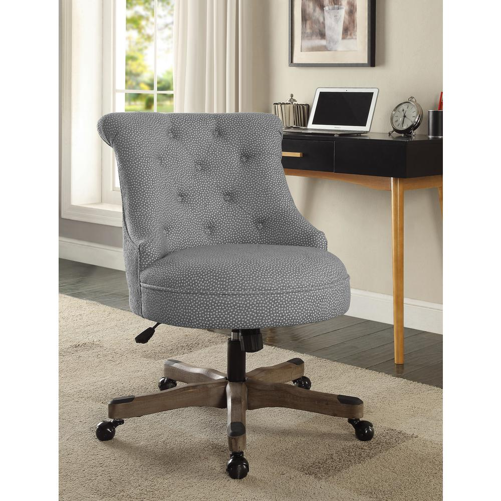 Linon Home Decor Sinclair Light Gray and White Dots Upholstered Fabric with  Gray Wood Base Office