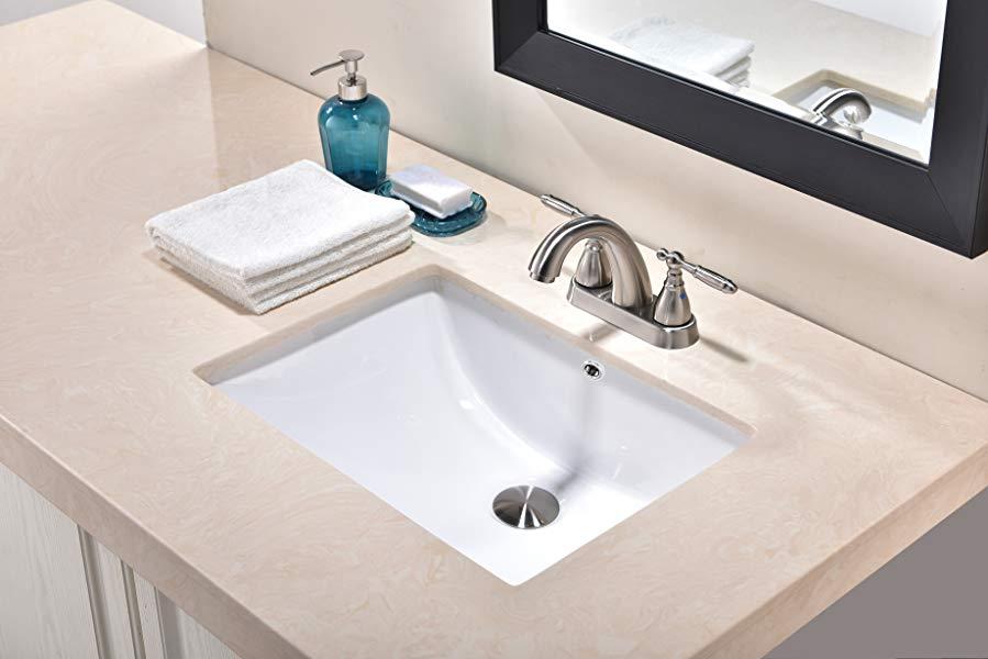 Friho Modern Rectangular Undermount Vanity Sink Porcelain Ceramic Lavatory  Bathroom Sink