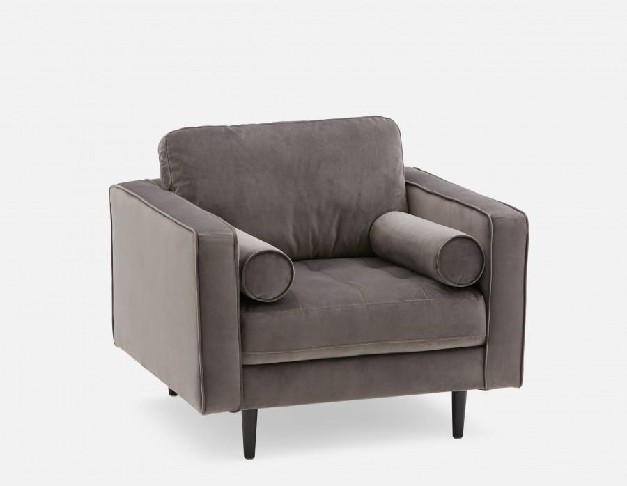 KINSEY - Velvet Armchair - Grey