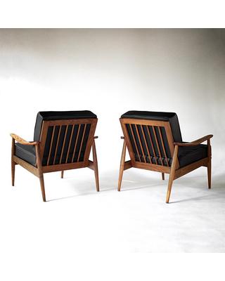 Mid Century Danish Modern Lounge Chairs Set of 2 Pair of Vintage by Heywood  Wakefield Mid