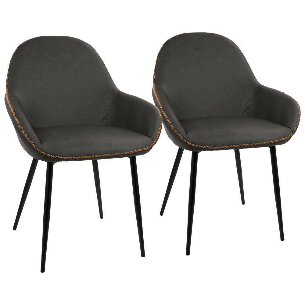 Lumisource Black and Grey Clubhouse Vintage Faux Leather Dining Chair (Set  of 2)-DC-CLB BK+GY2 - The Home Depot