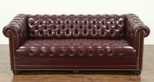 SOLD - Chesterfield Tufted Leather Vintage Sofa, signed Hancock & Moore -  Harp Gallery