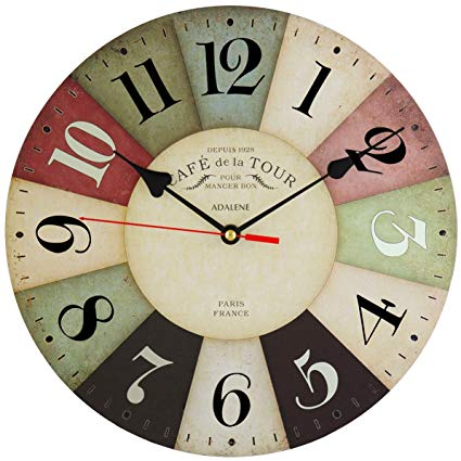 Adalene Wall Clocks Battery Operated Non Ticking 12 inch - Vintage Colorful  Wood Wall Clock Silent