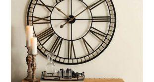 Melrose International Oversized Black and Gold Metal Wall Clock