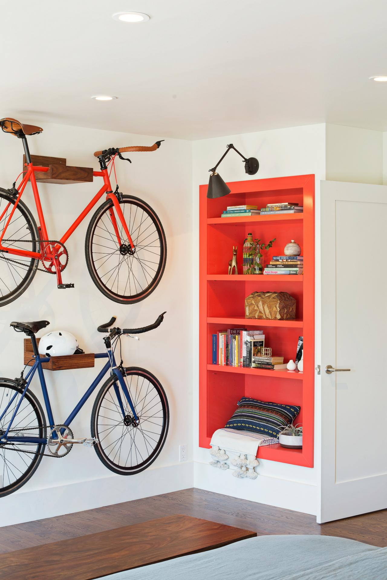 Bike Storage Is Functional and Decorative in Hip Bedroom
