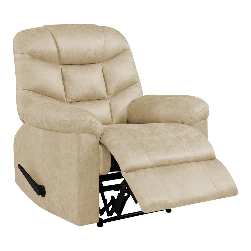 Wall Hugger Recliner in Tan Distressed Faux Leather