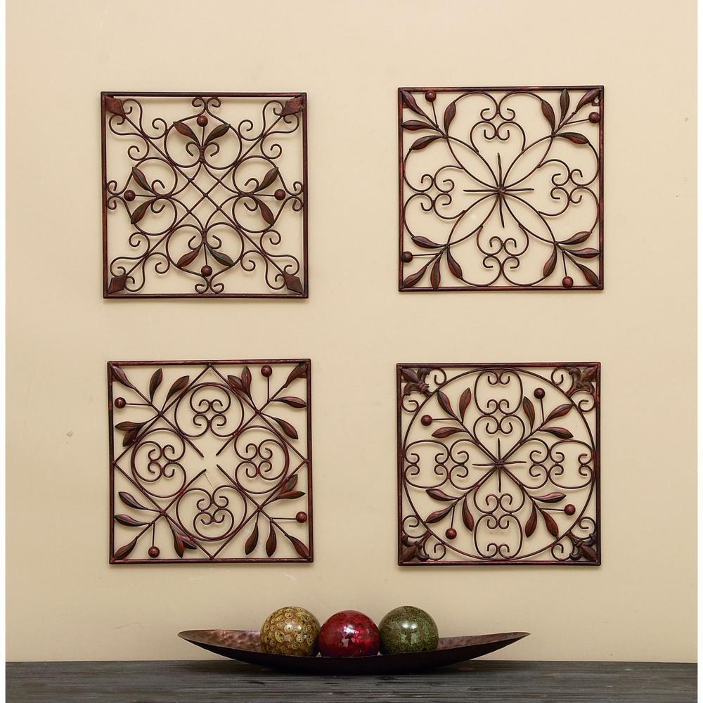 Leaf Scroll Wall Plaques (Set of 4)
