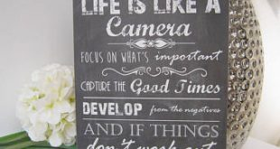 Handmade Wall Plaque Sign, Life Like a Camera Inspirational Quote Gift,  Friend New Home House Warming. Plaque Gift Present Wall door Sign