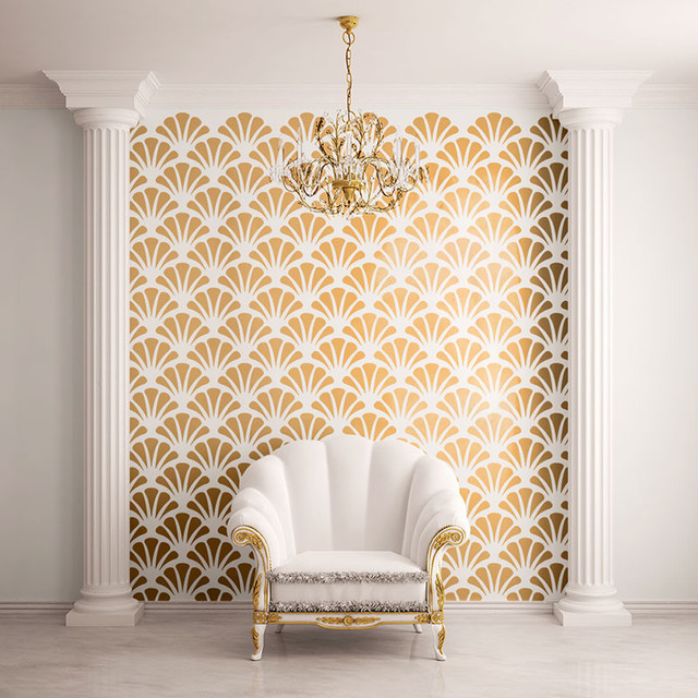 Scallop Shell Pattern Wall Stencil for Painting