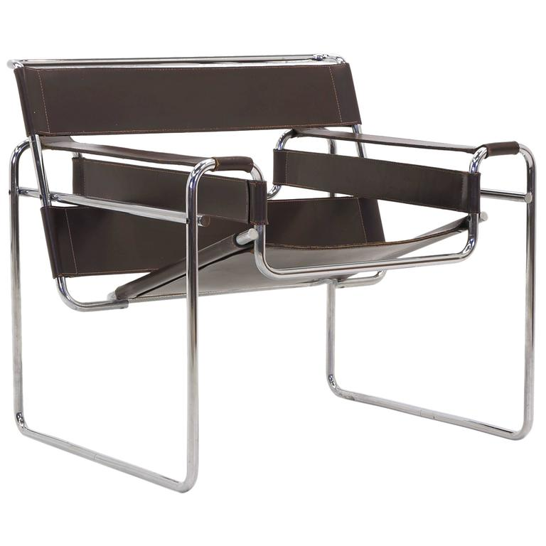 Early Original Knoll Gavina Wassily Chair by Marcel Breuer in Brown Leather  For Sale