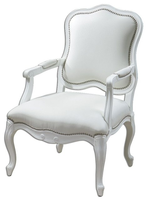 White Armchair White Enamel Carved Wood Frame Home Furniture Decor