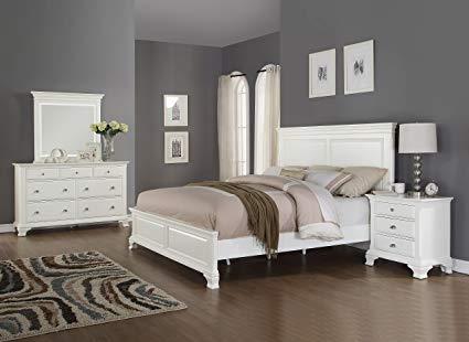 Roundhill Furniture B012KDMN Laveno 012 Wood Bed Room Set King White