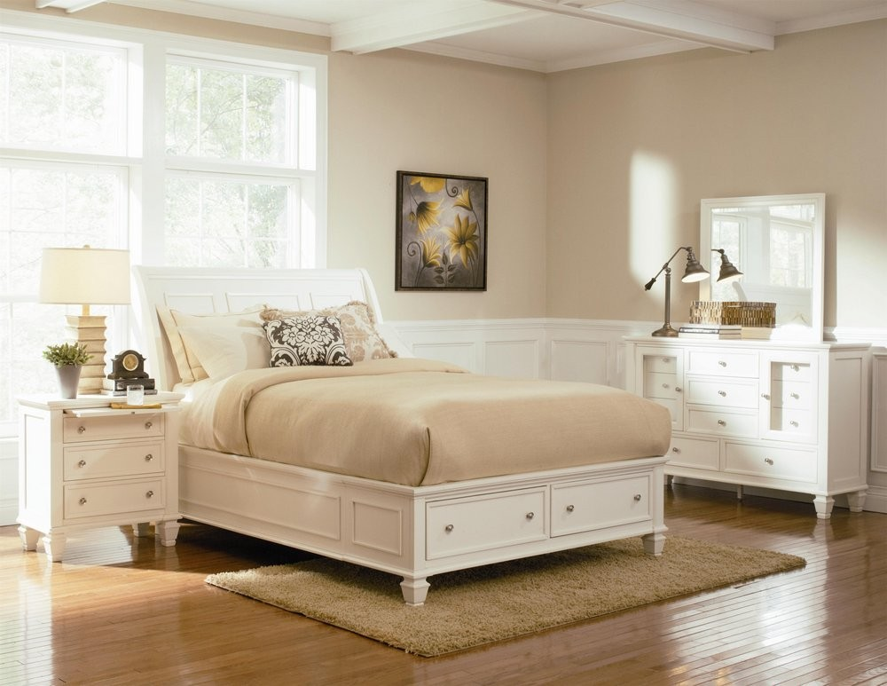 Buy Sandy Beach White Storage Sleigh Bedroom Set by Coaster from  www.Traveller Location.