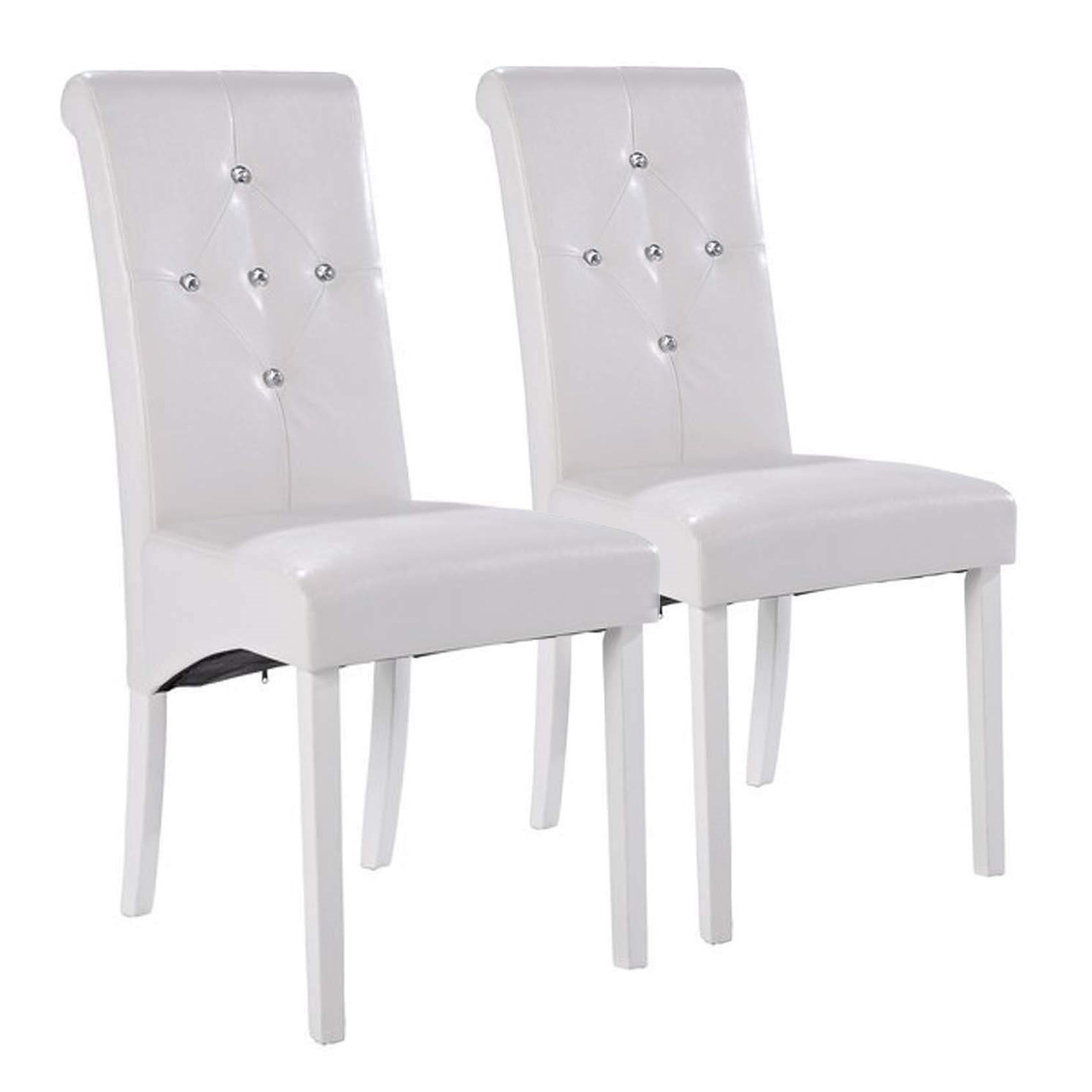 LPD Monroe Pair of Diamante Dining Chairs in White FOL077995