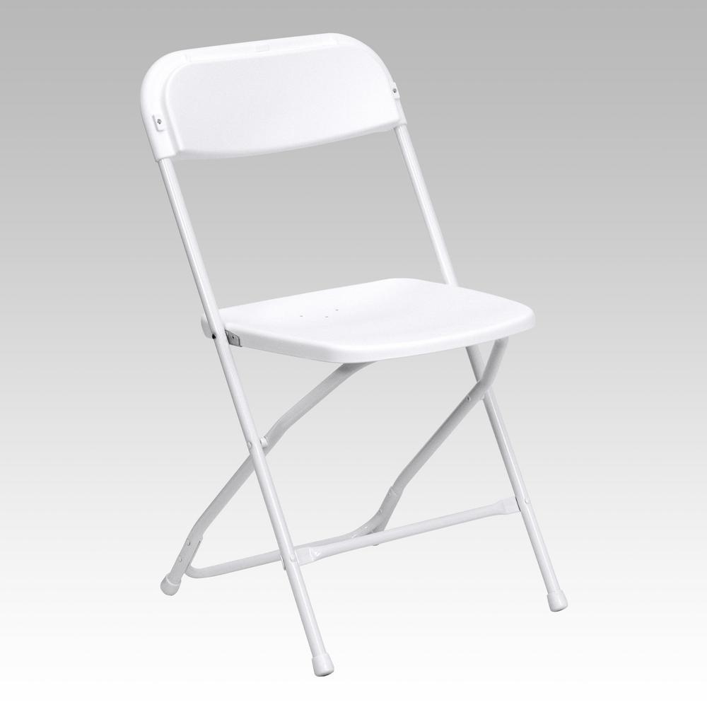 Flash Furniture Hercules Series 800 lb. Capacity Premium White Plastic  Folding Chair-LEL3WHITE - The Home Depot