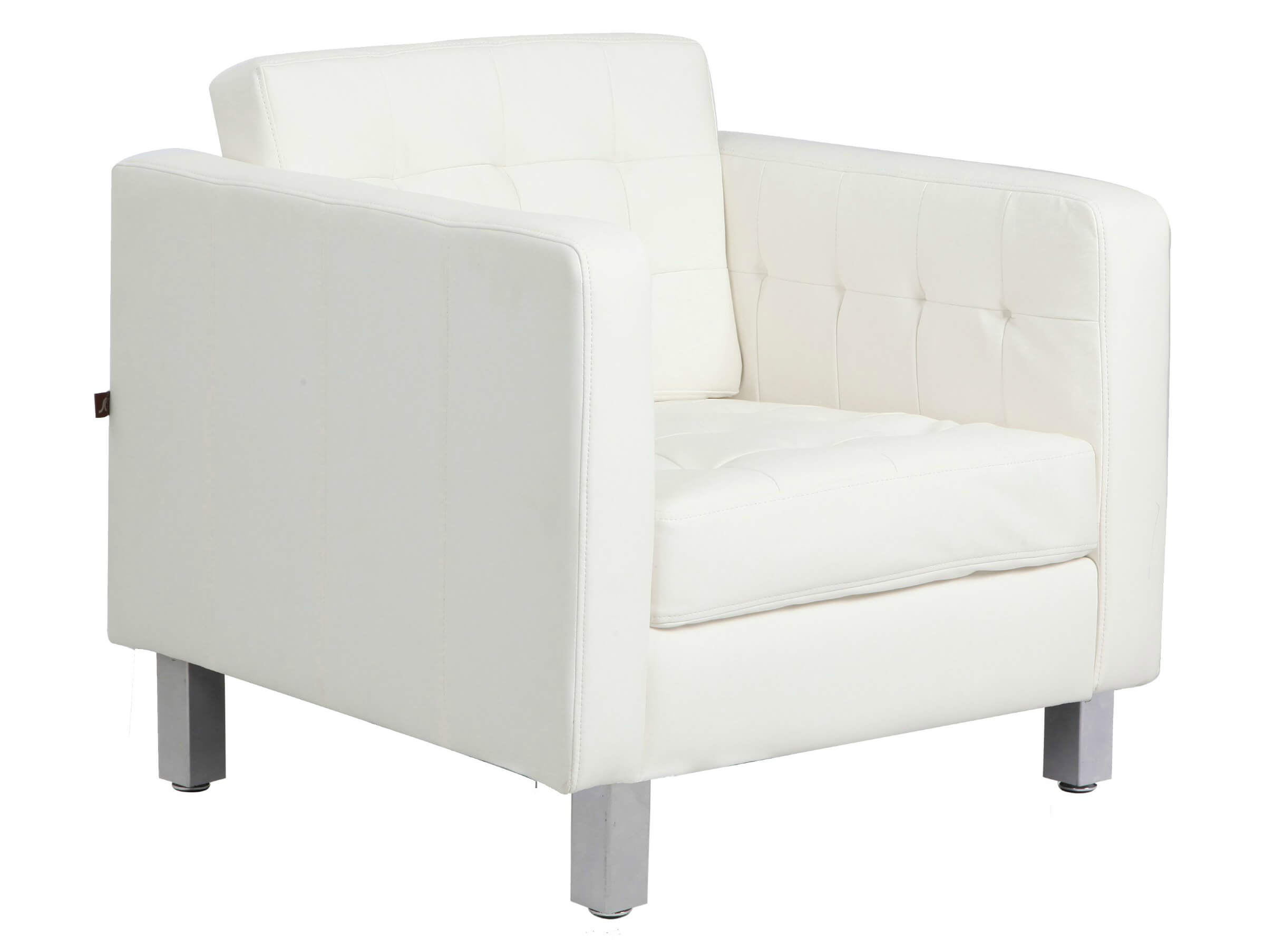Buttoned, bonded white leather design of this Rissanti accent chair holds  wide, comfortable cushion .