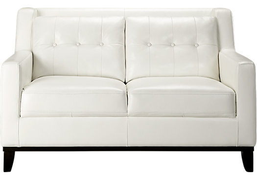 Rooms To Go Reina White Leather Loveseat