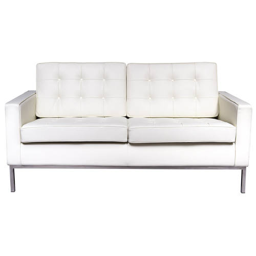 Florence Style Modern White Leather Loveseat