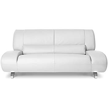Zuri Furniture Modern Aspen White Microfiber Leather Loveseat