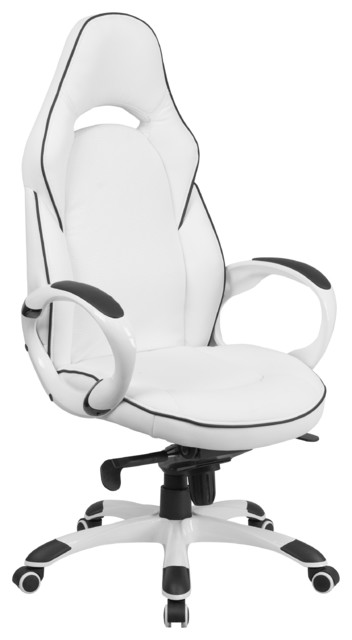 High Back White Vinyl Executive Swivel Office Chair With Black Trim -  Contemporary - Office Chairs - by ergode