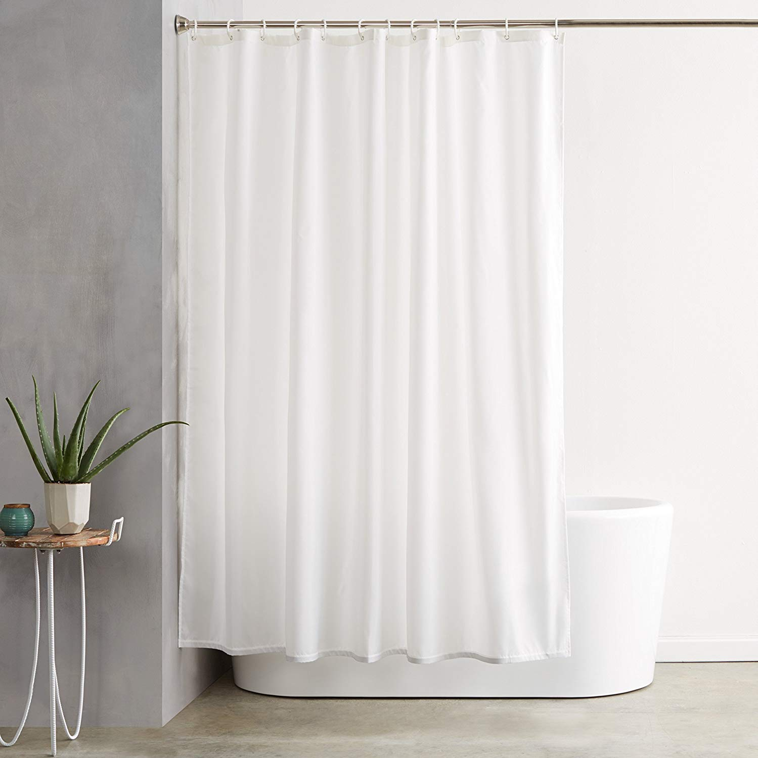 Traveller Location: AmazonBasics Shower Curtain with Hooks (Treated to Resist  Deterioration by Mildew) - 72 x 72 inches, White: Home & Kitchen