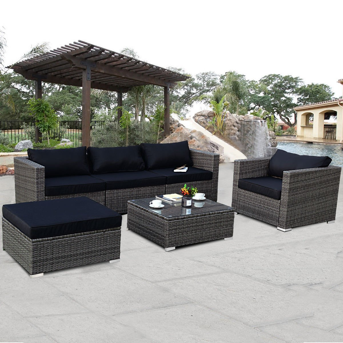 Costway 6-piece Rattan Wicker Patio Furniture Set Sectional Sofa Couch Yard  W/Black