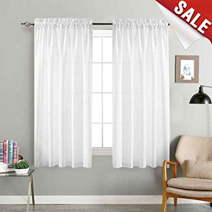 jinchan White Sheer Curtains for Bedroom 72 Inch Long Voile Curtain Set  Semi Sheer Window Drapes