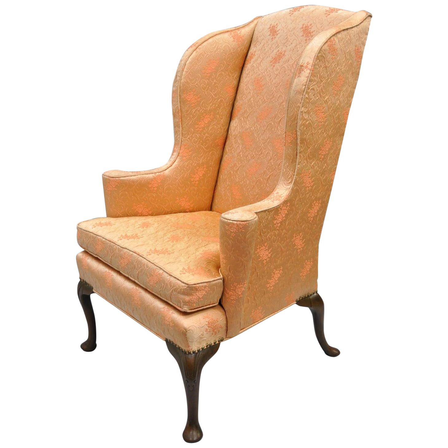 Antique Queen Anne Wingback Armchair Chair Rolled Arms For Sale