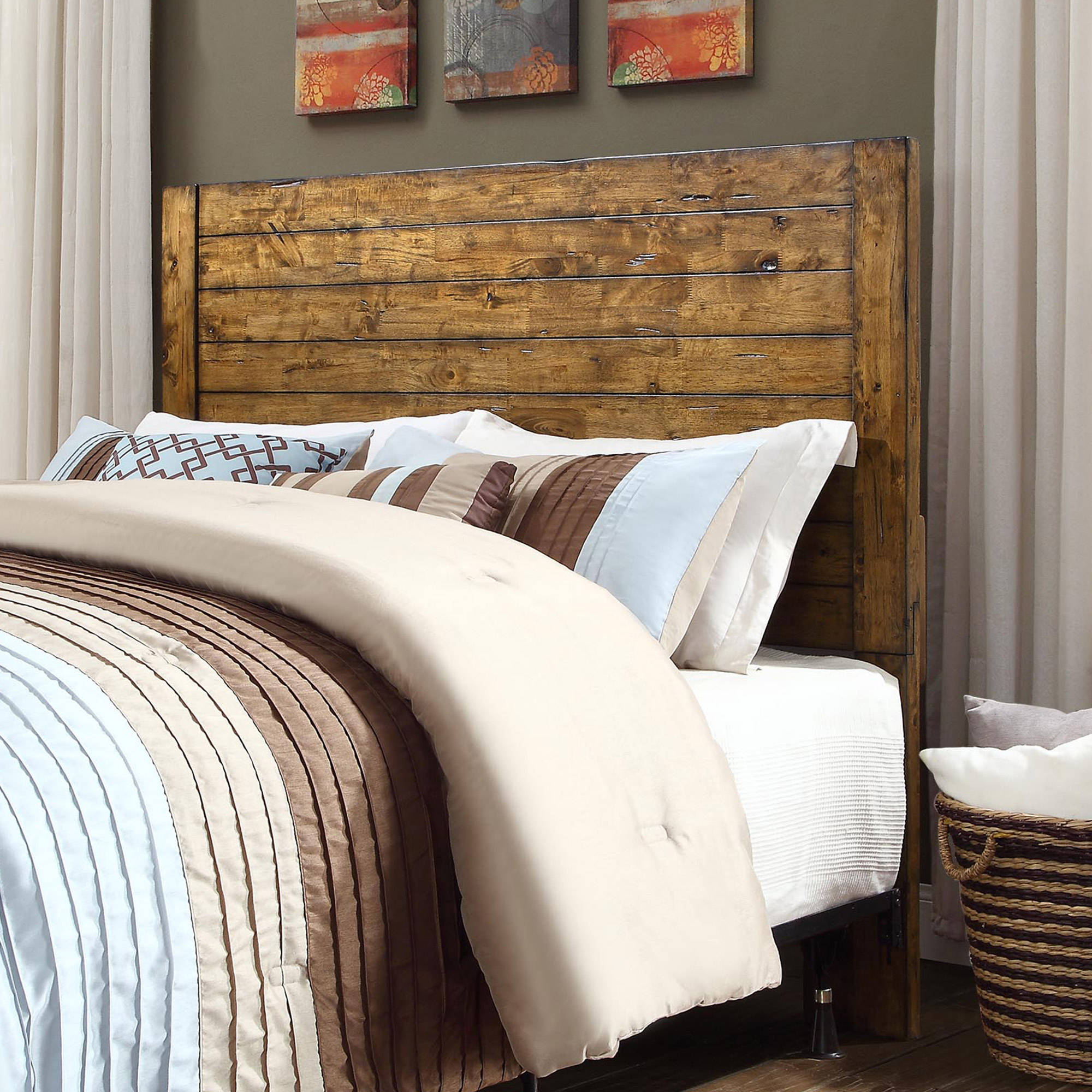 Better Homes and Gardens Bryant Full/Queen Solid Wood Headboard, Rustic  Brown Finish - Traveller Location