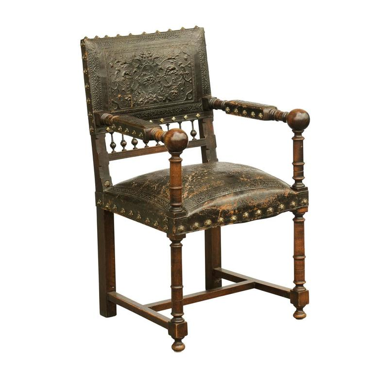 French 19th Century Embossed Leather Upholstered Wooden Armchair with Open  Arms For Sale